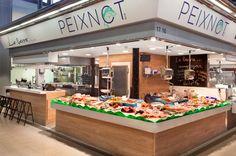 barra degustación - pescadería - diseño de pescaderías - parada de mercado - puesto de mercado - fishop - mercat del ninot - barcelona interiorismo comercial - peixateria - fish market - pescheria - marché aux poissons - food market - mercados de españa