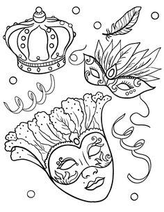Printable Mardis Gras coloring page. Free PDF download at http://coloringcafe.com/coloring-pages/mardis-gras/