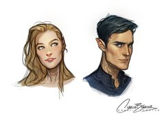 I couldn't very well do all these Throne of Glass portraits without drawing my precious babies Rhys & Feyre again