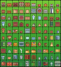 Pixel art - assorted containers, vessels (606×666) trunks, chests, suitcases, baskets, trash cans, waster paper, urns vases ewers, crates, boxes, piggy bank, safe, briefcase, satchel, barrel, keg, drawer, canister, milk jar jug, burlap sack, bag, Jack-o-lantern, cage, gift present, basin, bin, file box, cylinder, jewelry box, kennel, cardboard wooden -- doubtless I overlooked at least one object on this page, even with such an extensive list of tags! lol