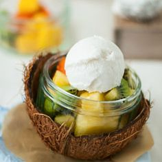 Coconut Lemon Sorbet served with tropical fruit salad plus tips to make ice cream or sorbet without an ice cream machine