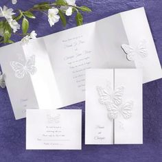 Butterfly Wedding Invitations - Pretty White and purple butterfly wedding invitations