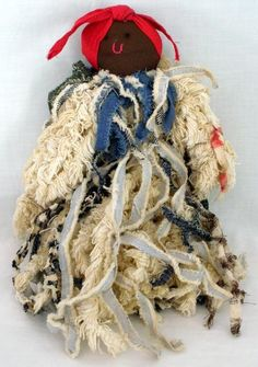 One Of A Kind Handmade African American Rag Doll Made From Chenille Bedspread
