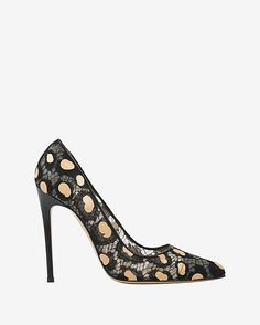 Leopard Spot Lace Pump: Classic floral lace and modern leopard spots mix together on these handcrafted pumps. 4 heel. In black with tan spots. #intermix #sweepstakes