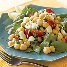Mediterranean Chickpea Salad   An old standby, super easy to throw together. Add bread or couscous or some other grain-thing (separately or in the salad) and you're good to go for lunch. This salad looks interesting with the inclusion of little cubes of manchego cheese.