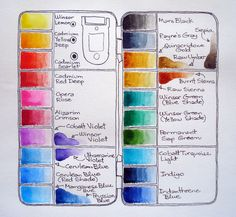 Good Watercolor Palette// I have this exact pallet - my colors aren't quite laid out like this though. I should draw mine....hmmm.