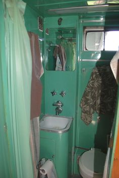 Gorgeous Green Art Deco Original Bathroom in 1951 Spartanette Tandem Trailer airstream....AWESOME!!