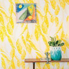 Nana Wallpaper by Justina Blakeney - Saffron   diningroom