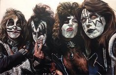 """Acrylic on Canvas titled """"Destroyer"""" all artwork is for sale. Prints available Kiss Art, Hot Band, San Francisco 49ers, Rock Art, Rock Bands, Halloween Face Makeup, Marvel, Music, Artwork"""