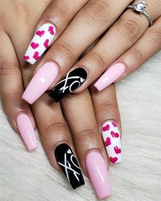 50 Trendy Acrylic Nail Designs for Valentine's Day – nageldesign. Heart Nail Designs, Valentine's Day Nail Designs, Acrylic Nail Designs, Acrylic Nails, Coffin Nails, Nails Design, Stiletto Nails, Diy Nails, Cute Nails