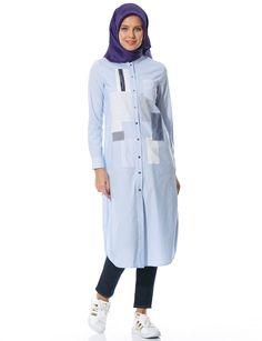 Kayra Patchwork Tunik Mavi B6 21106