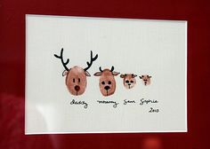 reindeer fingerprint family- do one, take a picture, adorable christmas card