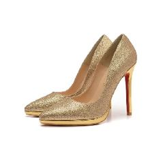 Christian Louboutin  Patent Pointed-Toe Pump Golden
