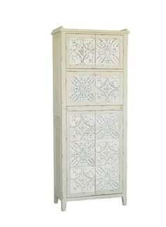 Casual White Wood Rectangle Accent Cabinet