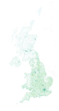 England in Dots: geonames data for the uk turned into dots /via straup