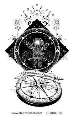 Astronaut in deep space. Travel in boundless universe. Mysticism, spirituality, astrology tattoo art. Magical symbols traveler, dreamer, adventure, meditation. Art drawing. Surrealist travel concept