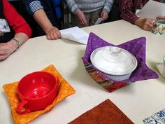 Microwaveable bowl potholder  -  individual soup-bowl and larger serving bowl size.  Instructions included! Sweet P Quilting and Creations.