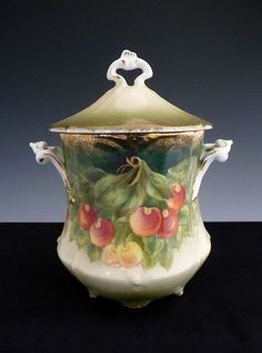 Antique porcelain condensed milk can holder signed Guillaume from victoriascurio on Ruby Lane