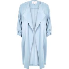 River Island Light blue duster jacket ($93) ❤ liked on Polyvore featuring outerwear, jackets, blue, river island jacket and river island