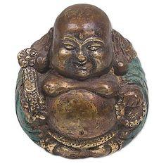 Bronze sculpture, 'Welcoming Buddha' - Bronze Sculpture of Sitting Buddha from Indonesia