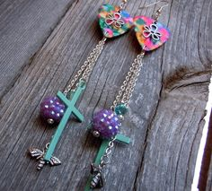 Colorful Guitar Pick Earrings with Heart Charms and Cross, Rhinestone, Bee Charm, and Crystal Dangles by ItsYourPick on Etsy