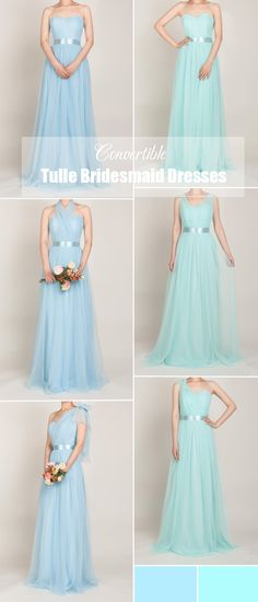 multiway convertible tulle bridesmaid dresses in mint blue and sky blue