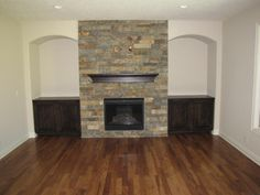 built in cabinets around fireplace | fireplace with built in cabinets