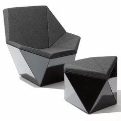 Prism™ Washington Lounge Chair and Ottoman by David Adjaye, 2015 Geometric Furniture, Modular Furniture, Lounge Furniture, Cool Furniture, Furniture Design, Furniture Dolly, White Furniture, Lounge Chairs, Dining Chairs