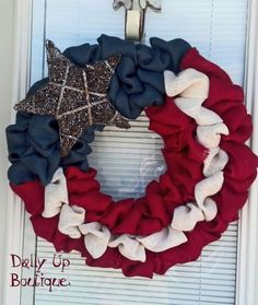 Burlap Wreath. Red CreamWhite and Navy Blue by DallyUpBoutique