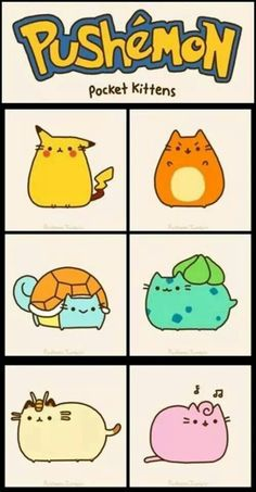 Just have to get this out there: I'm totally obsessed with Pusheen the cat. Pusheen is fluffy, chubby, adorable, lazy, loves Nutella…basically my. Pikachu, Cute Pokemon, Pokemon Pokemon, Charmander, Pokemon Fusion, Pokemon Cards, Cute Kawaii Drawings, Cute Animal Drawings, Pusheen Gif