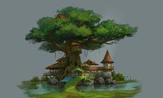 Tree house, Oker Zhu on ArtStation at https://www.artstation.com/artwork/tree-house-c53dd5a0-dfa4-4761-8aa7-db83a0001d85