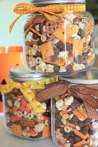 Fall Munch Mix (Warning: NOT healthy!): -A BIG bowl -Cheese crackers (Cheeze its) -salted peanuts -Pretzel squares -Reese's candy bits -Caramel corn -Honey nut cheerios -Cocoa puffs-Candy corn -Mellowcreme pumpkins