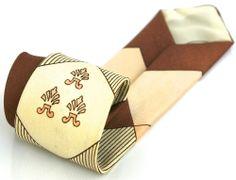 VINTAGE TIE 53L Brown Cream Check Vintage Skinny Mens Necktie