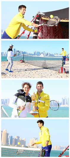 Novak Djokovic and Rafael Nadal visited the Museum of Islamic Art Park for a quick hit on a sand court overlooking the Doha skyline.