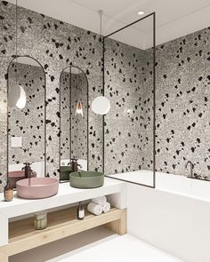 Can You Handle This Trend? - Terrazo - In case you didn't notice, the 'terrazzo' design trend is making a huge comeback this year, and we are already in love wi Bathroom Layout, Modern Bathroom Design, Bathroom Interior Design, Kitchen Interior, Bathroom Ideas, Bathroom Organization, Minimal Bathroom, Tile Layout, Bathroom Designs