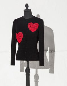 LACE HEART INLAY WOOL CARDIGAN | Dolce&Gabbana Online Store