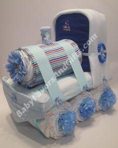 Choo Choo Train Diaper Cake - Baby Boys Diaper Cakes - by http://Babyfavorsandgifts.com