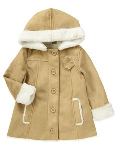 Hooded faux suede jacket has a 3-D flower and snowy faux fur lining.  omg this is PERFECT!