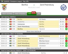 Benfica vs Zenit St Petersburg pre-match head-to-head info. First leg in the Champions League round of 16 ended with the victory of the russian side, 3-2.    LIVE: http://www.FlashScore.com/match/pKPZH7we/