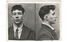 Reggie Kray's mugshot from the late 1940s
