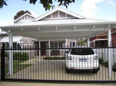 carport in front of garage Portable Carport, Carport Canopy, Carport Garage, Pergola Carport, Wood Pergola, Double Carport, Garage Double, Carport Designs, Pergola Designs