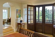 Whether at the line of the porch wall or the house wall, a double screen door will certainly keep the interior light, bright, fresh and bug free.