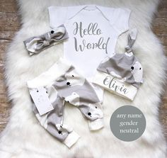 Baby Girl Coming Home Outfit Newborn Girl Outfit Hello World Baby Girl Outfit Baby Boy Outfit Baby Shower Gift Grey Outfit Polar Bear by LLPreciousCreations on Etsy https://www.etsy.com/listing/562850841/baby-girl-coming-home-outfit-newborn
