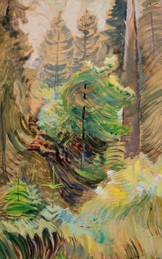 Windswept trees, 1934 Emily Carr at Dulwich Picture Gallery Emily Carr, Canadian Painters, Canadian Artists, Impressionist Paintings, Landscape Paintings, Landscapes, Tree Paintings, Small Paintings, Acrylic Paintings