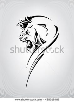 Silhouette of head of lion