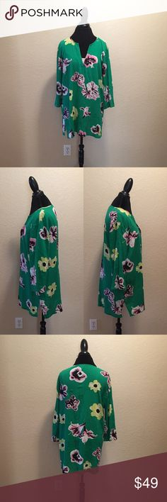 J.Crew Retro Floral Tunic Cover-Up • J.Crew • Size: XL • Green Color with Floral Pattern • Like New Condition • 100% Cotton • Open to Offers • J. Crew Tops Tunics