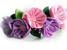 Flower bridal crown Pink purple flower headband por SummerForYou