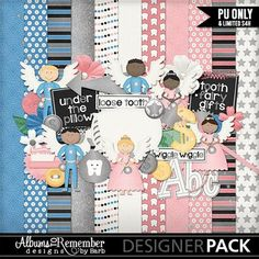Digital scrapbook kit for loose teeth and tooth fairy visits by Albums to Remember