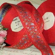 "1y VTG 3//8/"" BLUE FLOWER JACQUARD FRENCH DOLL DRESS HAT BEAR RED ROSE TRIM ANTQ"
