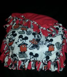 Mickey & Minnie Mouse Fleece Tie Blanket by BoondockBoutique, $20.00